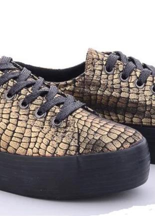 Кеды кроссовки слипоны женские (подростковые) текстильные черные золотистые