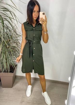 Коттоновое платье рубашка на пуговицах с карманами