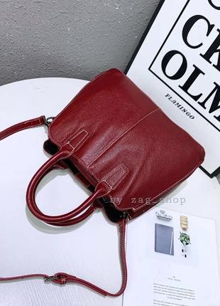 Женская кожаная сумка с короткими ручками сумка на плечо червона натуральна шкіра