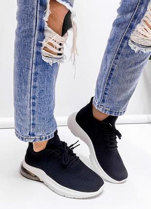 Удобные, практичные чёрные женские текстильные кроссовки