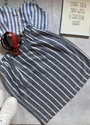 Льняная юбка с карманами, в полоску dorothy perkins