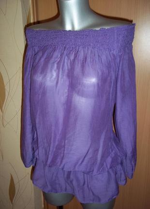 Блузка крестьянка с открытыми плечами сиреневого цвета