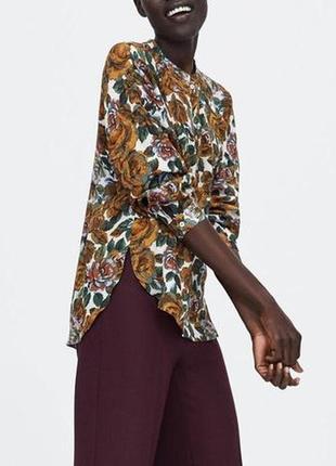 Натуральная оверсайз рубашка, блуза в цветочный принт zara