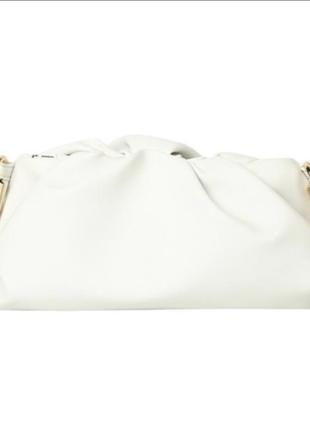 Сумка с большой цепью в стиле bottega veneta etaloo экокожа белый