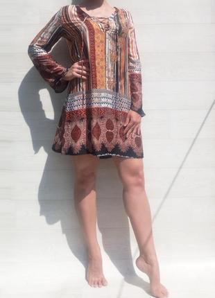 Платье glamorous африканский марокканский принт коричневое разноцветное
