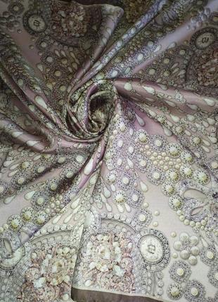 Прекрасный фирменный платок из натурального шелка+swarovski