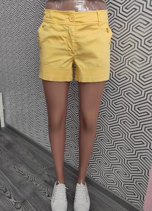 Шорты короткие желтые с карманами летние яркие коттон размер 36 hm