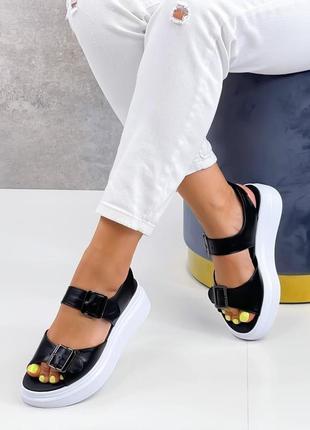 Босоножки натуральная кожа женские чёрные кожаные босоніжки шкіряні жіночі чорні