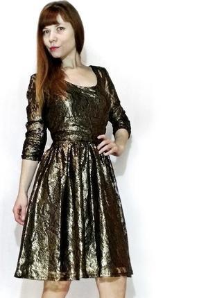 Гипюровое золотое платье с кружевом s/m