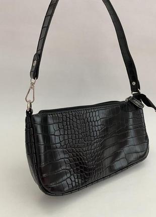 Сумка сумочка рельеф крокодил лак багет винтаж клатч черная ретро