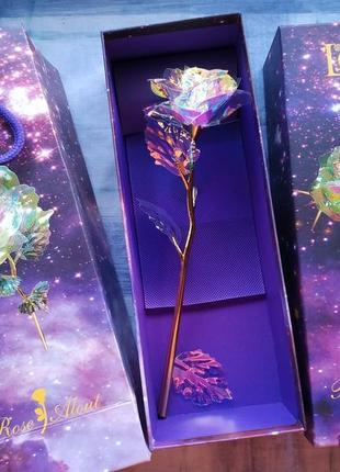 Роза с led подсветкой, светящаяся роза в подарочной коробке