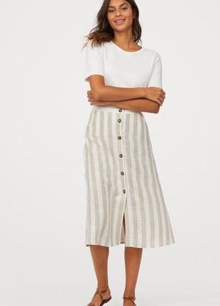 Актуальная льняная миди юбка в полоску от h&m