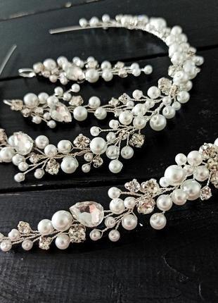 Комплект: ободок, серьги и браслет для невесты
