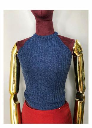 Вязаная майка топ синяя летняя  футболка в рубчик с открытыми плечами rundholz owens other stories c