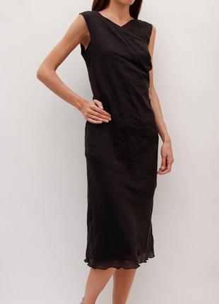 Шелковое чёрное платье