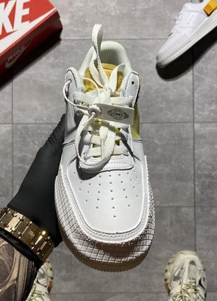 Nike air force type 1🆕женские кожаные кроссовки найк аир форс🆕белые с оранжевым2 фото