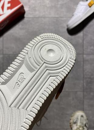 Nike air force type 1🆕женские кожаные кроссовки найк аир форс🆕белые с оранжевым5 фото