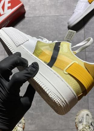 Nike air force type 1🆕женские кожаные кроссовки найк аир форс🆕белые с оранжевым6 фото