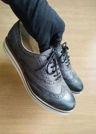 Roberto santi туфли/броги/оксфорды на толстой подошве танкетке полуботинки ботинки туфлі