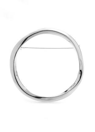 Стильная металлическая большая круглая брошь в серебряном цвете