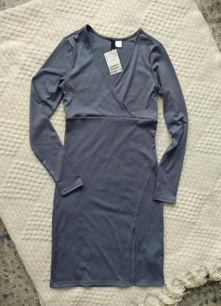 Платье в рубчик в обтяжку вечернее