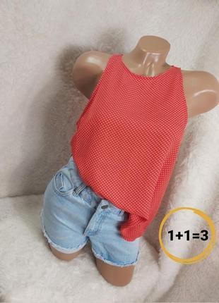 Шикарная блуза майка в горох красная