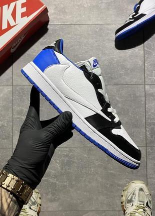 Nike air jordan 1 low 🆕кожаные низкие кроссовки найк аир джордан🆕черно-белые с синим