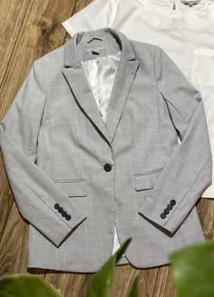 Пиджак свободного кроя, удлинённый в клетку h&m