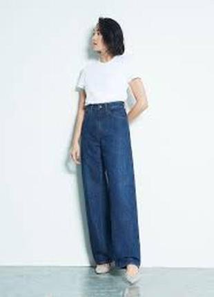 Прямые широкие джинсы трубы uniqlo  wide fit curved jeans