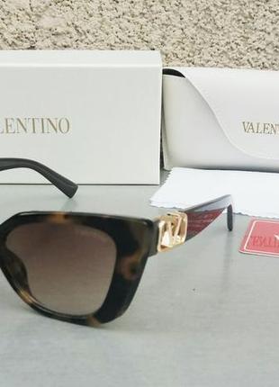 Valentino очки женские солнцезащитные коричневые тигровые с градиентом