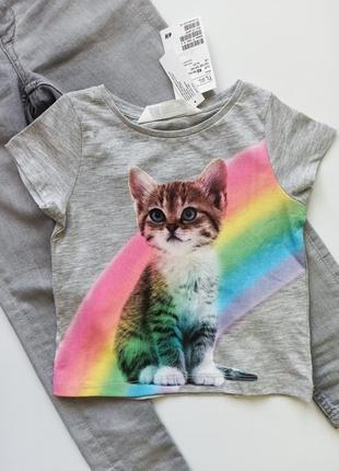 Трикотажная летняя футболка с котёнком хлопок бавовна от h&m