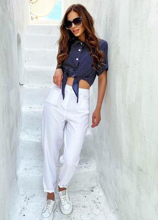 Летние легкие брюки из хлопка с завышенной талией в белом цвете