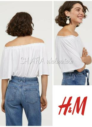 Трикотажная блуза футболка топ с открытыми плечами вискоза от h&m