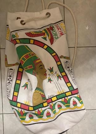 Большой тканевый вместительный рюкзак белый стильный с принтом рисунком шопер