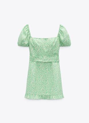 Льняное платье в цветы/ромашки/цветочное с поясом/на спущенных плечах с объемными рукавами зара/zara