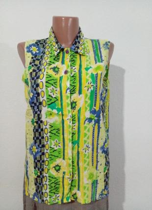 Винтажная блуза рубашка без рукавов