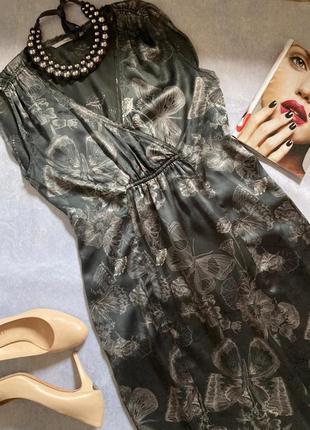Красивое легкое воздушное шёлковое платье, экзотический принт от скандинавского бренда part two