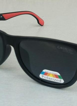 Carrera очки мужские солнцезащитные черные с красными вставками поляризированые