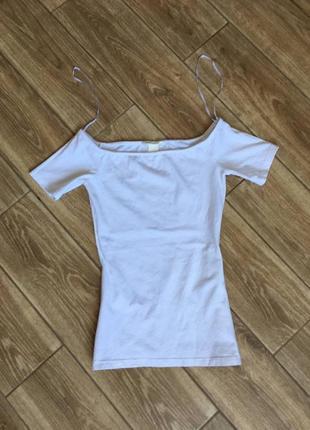 Белый топ футболка приталенный, возможность оголить плечики, хлопок