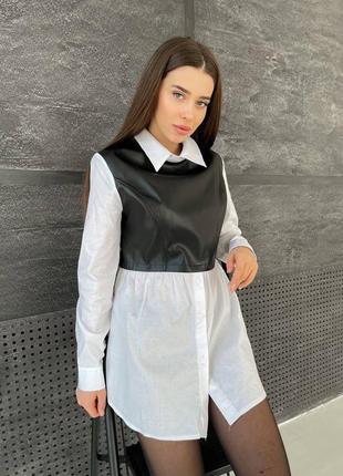 Рубашка с кожаной вставкой повседневная удлиненная с длинным рукавом и воротником хлопковая на пуговицах повседневная модная трендовая