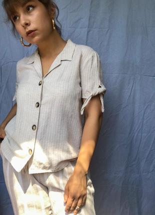 Чудова сорочка з гарними ґудзиками беж льон рубашка mango