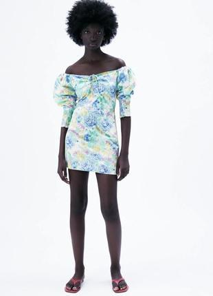 Платье в цветы/цветочное из поплина с объемными рукавами-бумами/на спущенных плечах зара/zara