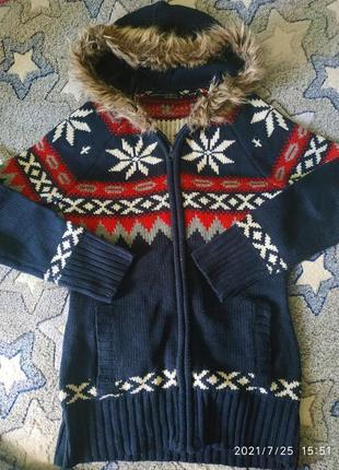 Теплая стильная вязаная кофта с мехом, размер м