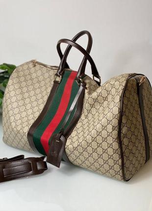 Дорожная сумка кожа текстиль для спорта беж