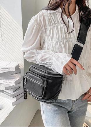 Крутая💣женская кожаная бананка черная сумка слинг кросс боди из эко.кожи хорошего качества