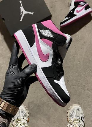 Женские кроссовки nike air jordan 1 pink black 36-37-38-39-40-41