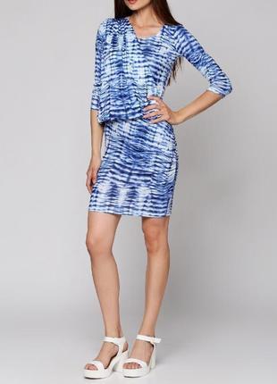 Брендовое голубое вечернее нарядное миди платье ichi великобритания этикетка