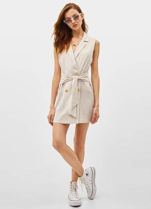 Платье пиджак с поясом без рукавов
