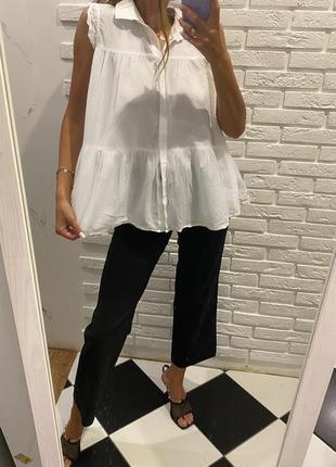 Льняная белая блуза зефирка рубашка