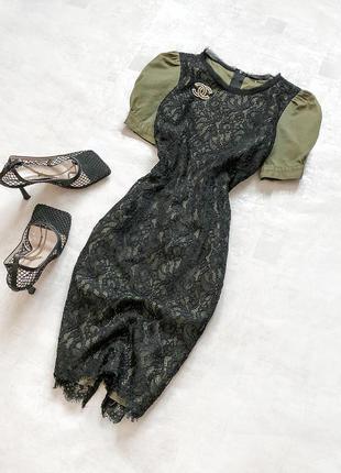 Роскошное брендовое платье-футляр pinko шикарным кружевом и рукавами-баффами цвета хаки